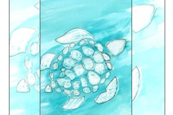 Drawing of a turtle on the cover of the literary magazine